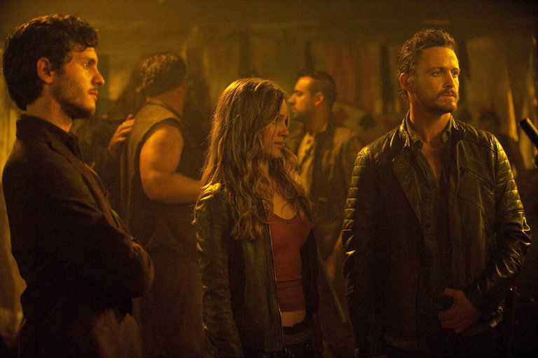 Pictured:  (l-r) Mat Vairo as Connor, Tracy Spiridakos as Charlie Matheson, David Lyons as Sebastian Monroe -- (Photo by: Felicia Graham/NBC/NBCU Photo Bank)