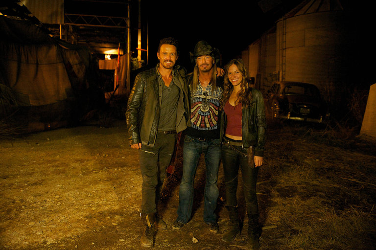 Pictured: (l-r) David Lyons as Sebastian Monroe, Bret Michaels as Himself, Tracy Spiridakos as Charlie Matheson -- (Photo by: Felicia Graham/NBC/NBCU Photo Bank)