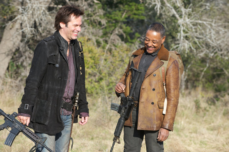Pictured: (l-r) Billy Burke as Miles Matheson, Giancarlo Esposito as Tom Neville -- (Photo by: Felicia Graham/NBC/NBCU Photo Bank)