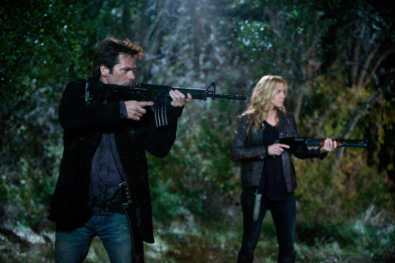 Pictured: (l-r) Billy Burke as Miles Matheson, Elizabeth Mitchell as Rachel Matheson -- (Photo by: Felicia Graham/NBC/NBCU Photo Bank)
