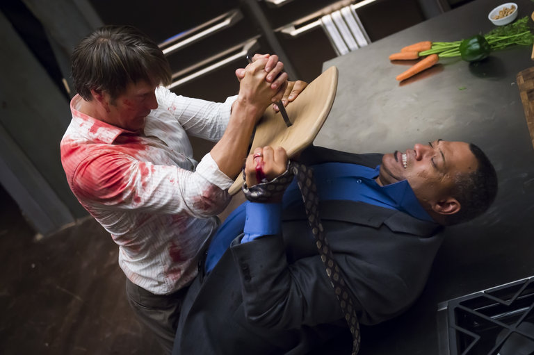 "HANNIBAL -- ""Kaiseki"" Episode 201 -- Pictured: (l-r) Mads Mikkelsen as Dr. Hannibal Lecter, Laurence Fishburne as Jack Crawford -- (Photo by: Brooke Palmer/NBC)"