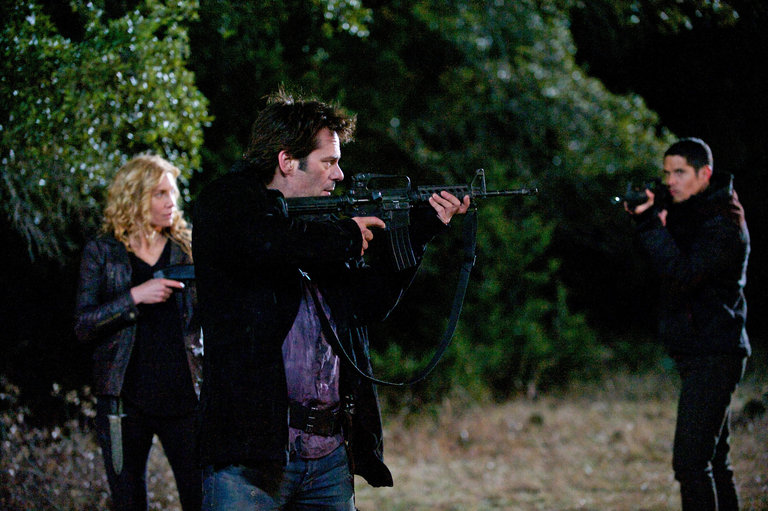 Pictured: (l-r) Elizabeth Mitchell as Rachel Matheson, Billy Burke as Miles Matheson, JD Pardo as Jason Neville -- (Photo by: Felicia Graham/NBC/NBCU Photo Bank)