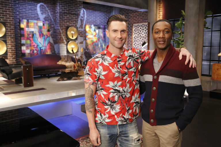 "THE VOICE -- ""Team Adam Battle Reality"" -- Pictured: (l-r) Adam Levine, Aloe Blacc  -- (Photo by: Trae Patton/NBC)"