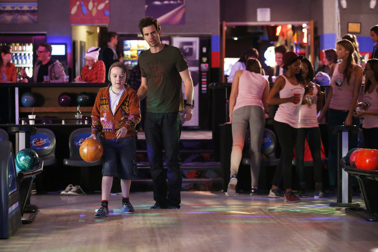 """ABOUT A BOY -- """"About a Godfather"""" Episode 104 -- Pictured: (l-r) Benjamin Stockham as Marcus, David Walton as Will Freeman -- (Photo by: Trae Patton/NBC)"""
