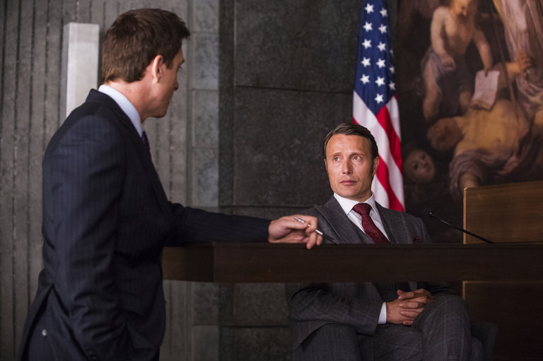 "HANNIBAL -- ""Hassun"" Episode 203 -- Pictured: (l-r) Shawn Doyle as Leonard Brauer, Mads Mikkelsen as Hannibal Lecter -- (Photo by: Brooke Palmer/NBC)"