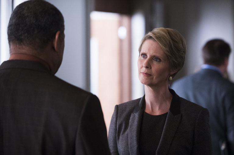 "HANNIBAL -- ""Hassun"" Episode 203 -- Pictured: (l-r) Laurence Fishburne as Jack Crawford, Cynthia Nixon as Kade Prurnell  -- (Photo by: Brooke Palmer/NBC)"