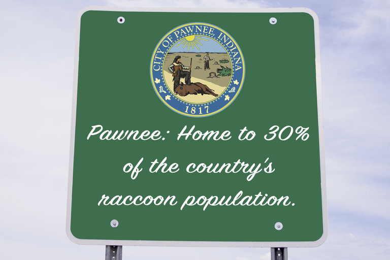 Parks and Recreation - Town Slogan - Pawnee: Home to 30% of the country's raccoon population.