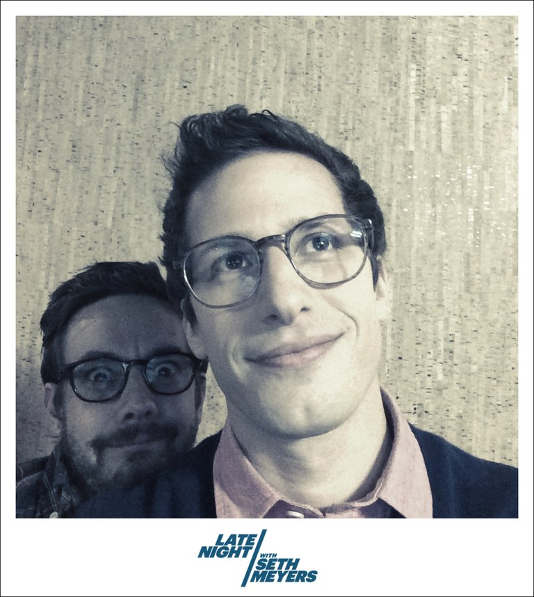 Andy Samberg and Jorma Taccone Late Night with Seth Meyers Backstage Photo