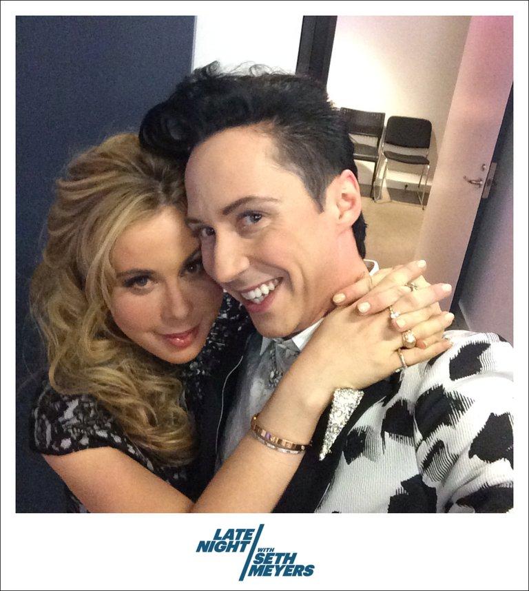 Late Night with Seth Meyers Johnny Weir and Tara Lipinski Backstage Photo
