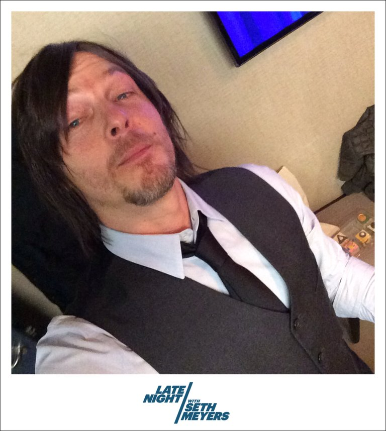 Norman Reedus Backstage Photo Late Night with Seth Meyers