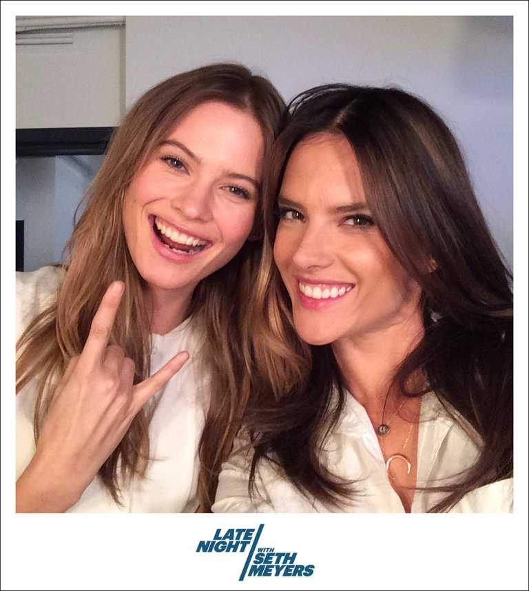 Alessandra Ambrosio and Behati Prinsloo Backstage Photo Late Night with Seth Meyers