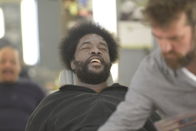 "Questlove prepares for his guest starring role as a dead body in the episode ""Criminal Stories."""