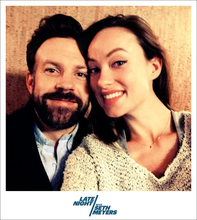 Olivia Wilde Jason Sudeikis Backstage Photo Late Night with Seth Meyers