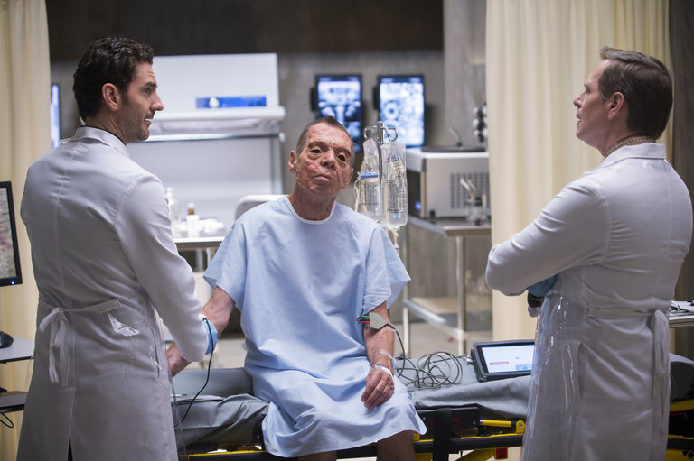 "HANNIBAL -- ""Takiawase"" Episode 204 -- Pictured: (l-r) Aaron Abrams as Brian Zeller, Scott Thompson as Jimmy Price -- (Photo by: Brooke Palmer/NBC)"