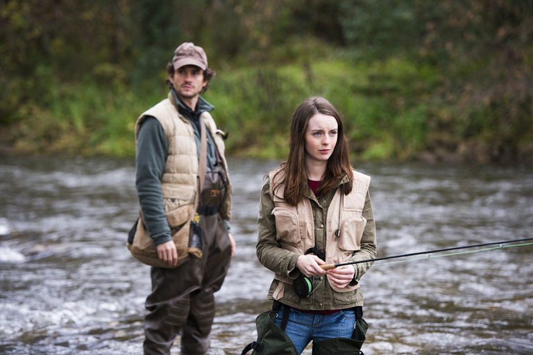 "HANNIBAL -- ""Takiawase"" Episode 204 -- Pictured: (l-r) Hugh Dancy as Will Graham, Kacey Rohl as Abigail Hobbs -- (Photo by: Brooke Palmer/NBC)"