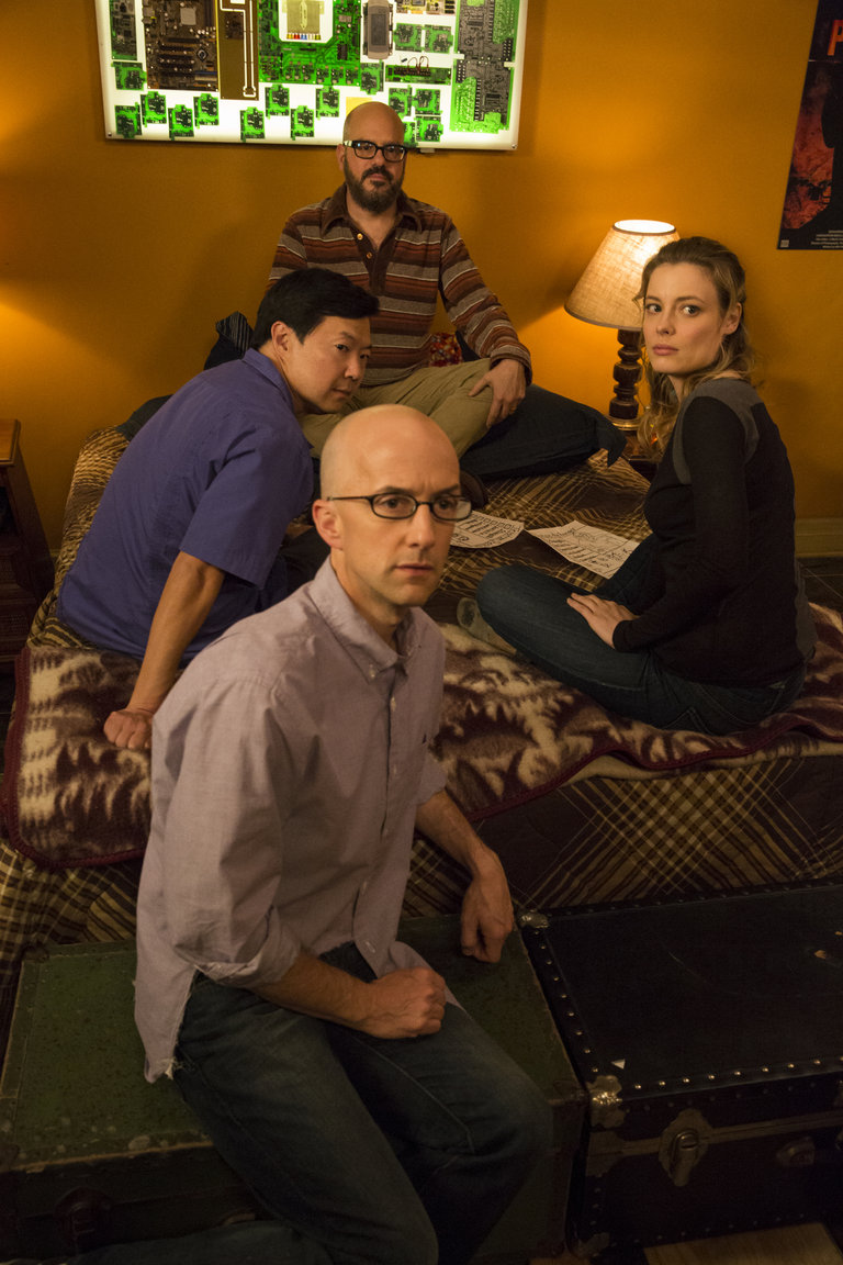 "COMMUNITY -- ""Advanced Advanced Dungeons & Dragons"" Episode 510 -- Pictured: (l-r) Ken Jeong as Señor Chang, Jim Rash as Dean Pelton, David Cross as Hank Hickey, Gillian Jacobs as Britta -- (Photo by: Justin Lubin/NBC)"