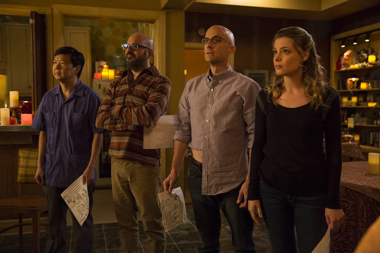 "COMMUNITY -- ""Advanced Advanced Dungeons & Dragons"" Episode 510 -- Pictured: (l-r) Ken Jeong as Señor Chang, David Cross as Hank Hickey, Jim Rash as Dean Pelton, Gillian Jacobs as Britta -- (Photo by: Justin Lubin/NBC)"