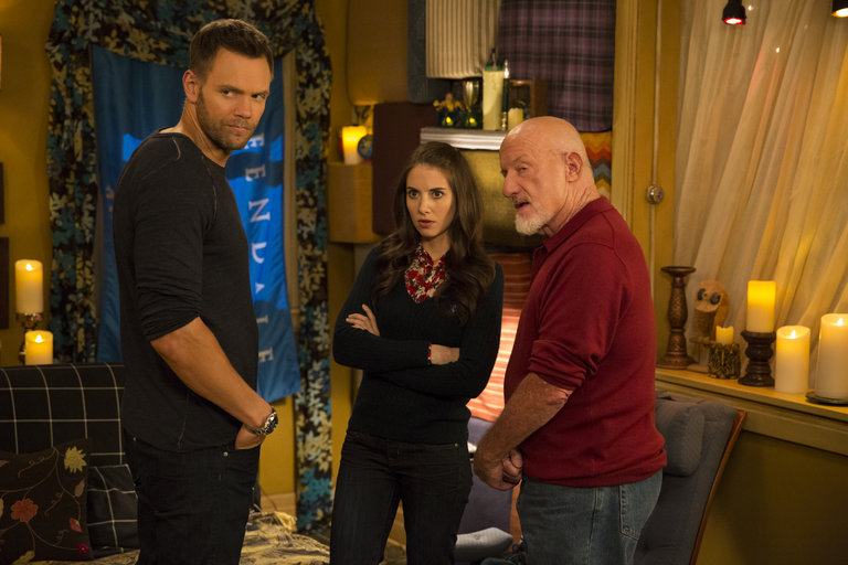 "COMMUNITY -- ""Advanced Advanced Dungeons & Dragons"" Episode 510 -- Pictured: (l-r) Joel McHale as Jeff, Alison Brie as Annie, Jonathan Banks as Professor Buzz Hickey -- (Photo by: Justin Lubin/NBC)"