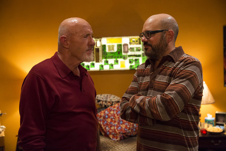 "COMMUNITY -- ""Advanced Advanced Dungeons & Dragons"" Episode 510 -- Pictured: (l-r) Jonathan Banks as Professir Buzz Hickey, David Cross as Hank Hickey -- (Photo by: Justin Lubin/NBC)"