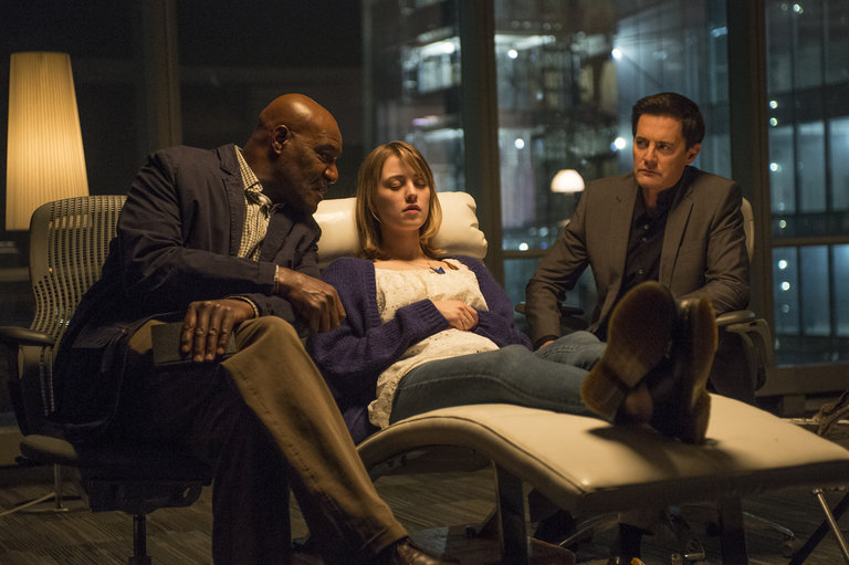Pictured: (l-r) Delroy Lindo as Winter, Ella Rae Peck as Nina Adams, Kyle MacLachlan as Skouras -- (Photo by: David Giesbrecht/NBC)