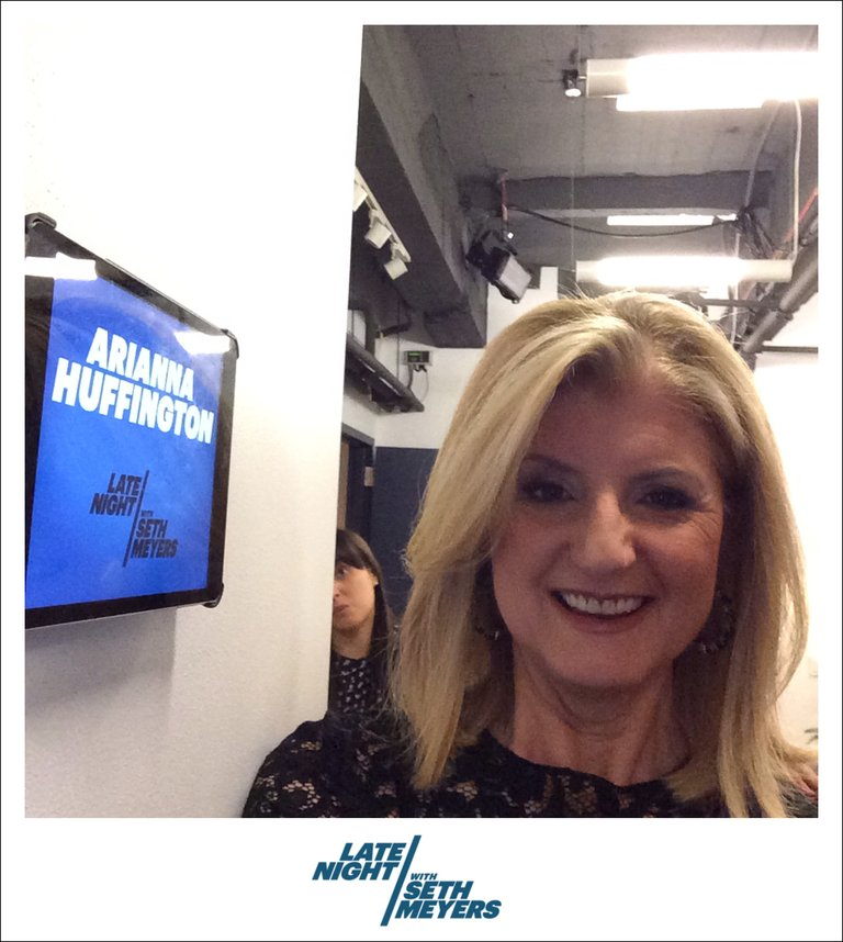 Arianna Huffington Backstage Photo Late Night with Seth Meyers