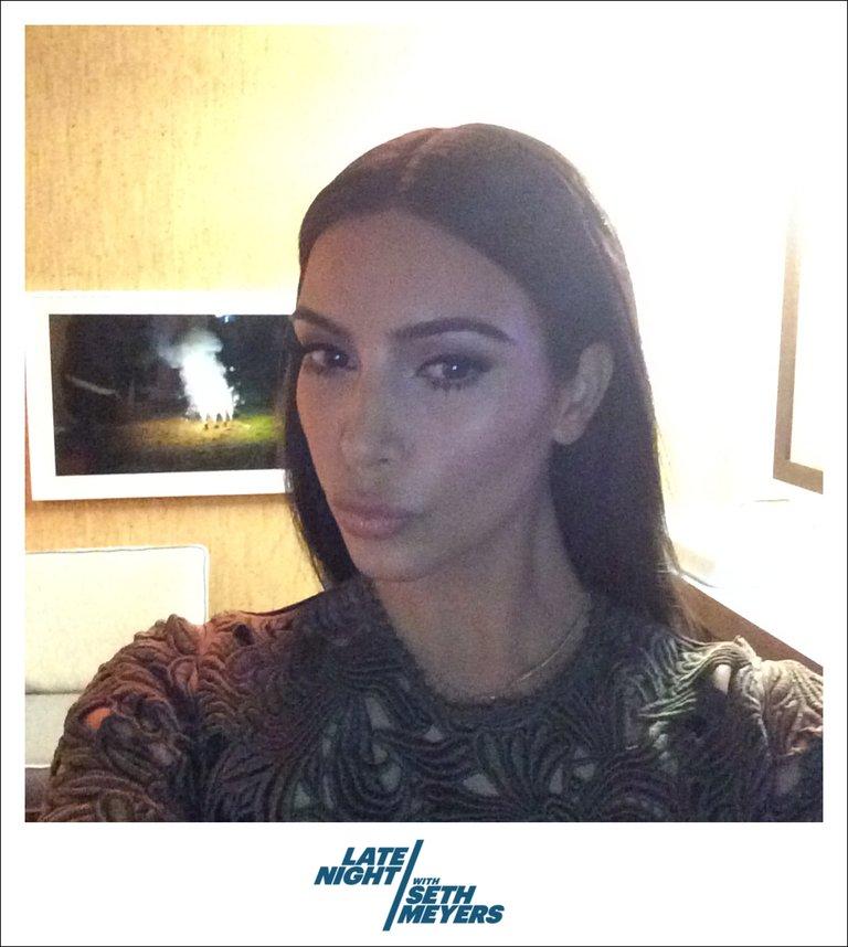 Kim Kardashian Backstage Photo Late Night with Seth Meyers