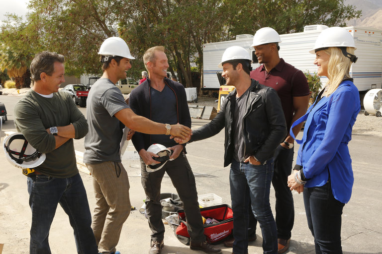 "AMERICAN DREAM BUILDERS -- ""Build Week"" Episode 102 -- Pictured: (l-r) Jay Riordan, Darren Moore, Andrew Flesher, Nate Berkus, Eddie George, Monica Pedersen -- (Photo by: Vivian Zink/NBC)"