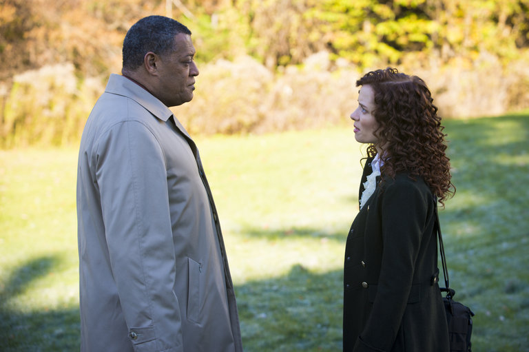 "HANNIBAL -- ""Mukozuke"" Episode 205 -- Pictured: (l-r) Laurence Fishburne as Jack Crawford, Lara Jean Chorostecki as Freddie Lounds -- (Photo by: Brooke Palmer/NBC)"