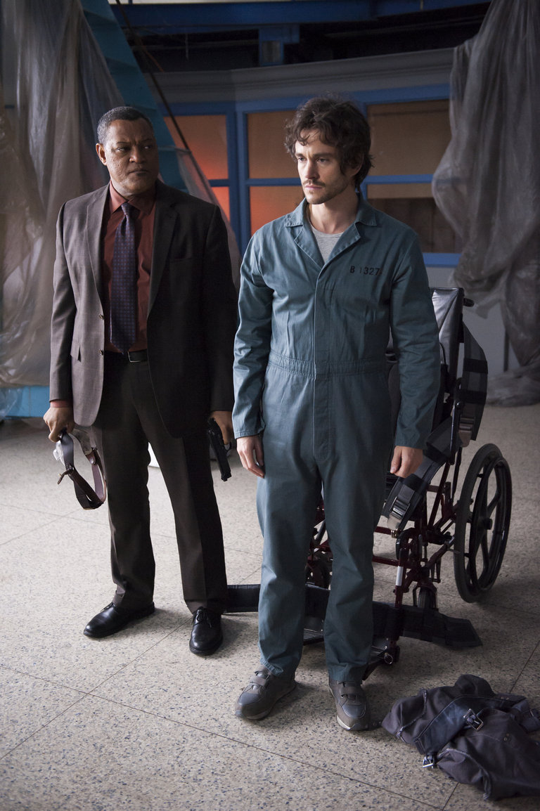 "HANNIBAL -- ""Mukozuke"" Episode 205 -- Pictured: (l-r) Laurence Fishburne as Jack Crawford, Hugh Dancy as Will Graham -- (Photo by: Brooke Palmer/NBC)"