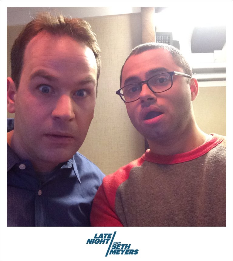 Joe Mande and Mike Birbiglia Backstage Photo Late Night with Seth Meyers
