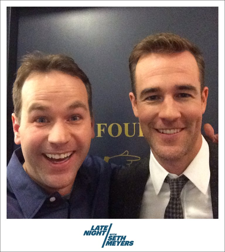 James Van Der Beek and Mike Birbiglia Backstage Photo Late Night with Seth Meyers