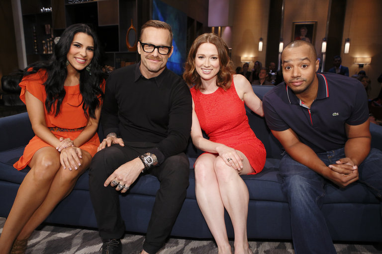 HOLLYWOOD GAME NIGHT -- Episode 206 -- Pictured: (l-r) Contestant, Bob Harper, Ellie Kemper, Donald Faison -- (Photo by: Trae Patton/NBC)
