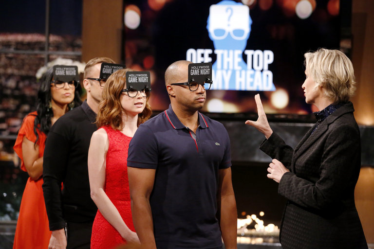 HOLLYWOOD GAME NIGHT -- Episode 206 -- Pictured: (l-r) Contestant, Bob Harper, Ellie Kemper, Donald Faison, Jane Lynch -- (Photo by: Trae Patton/NBC)