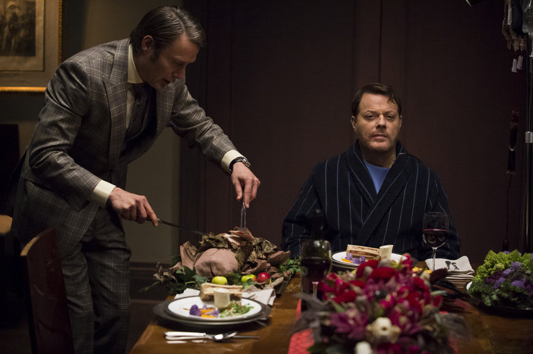 "HANNIBAL -- ""Futamono"" Episode 206 -- Pictured: (l-r) Mads Mikkelsen as Hannibal Lecter, Eddie Izzard as Dr. Abel Gideon -- (Photo by: Brooke Palmer/NBC)"