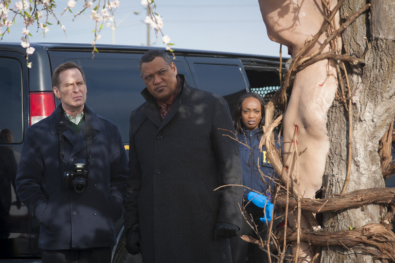"HANNIBAL -- ""Futamono"" Episode 206 -- Pictured: (l-r) Scott Thompson as Jimmy Price, Laurence Fishburne as Jack Crawford -- (Photo by: Brooke Palmer/NBC)"