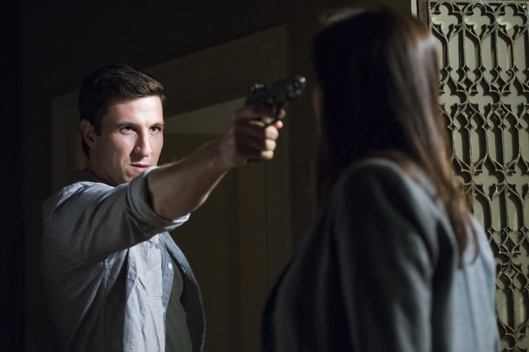 Despite SVU's attempts, a technicality at trial leaves Lewis a free man and he later surprises Benson at her apartment - with a gun in her face.