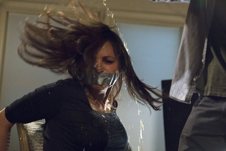 """In the Season 15 premiere, """"Surrender Benson/Imprisoned Lives,"""" Lewis tortures Benson at her apartment and abducts her, driving her to a remote cabin - and killing innocents along the way."""