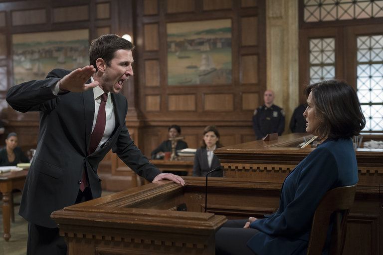 He challenges Benson's resolve on the stand and she lies about him being free (not cuffed) when she subdued him. Lewis' emotional appeal to the jury carries weight, though, and Benson fears an acquittal.