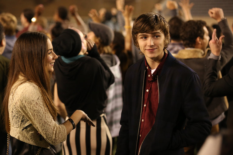 """PARENTHOOD -- """"I'm Still Here"""" Episode 521 -- Pictured: l-r) Lyndon Smith as Natalie, Miles Heizer as Drew Holt -- (Photo by: Chris Haston/NBC)"""