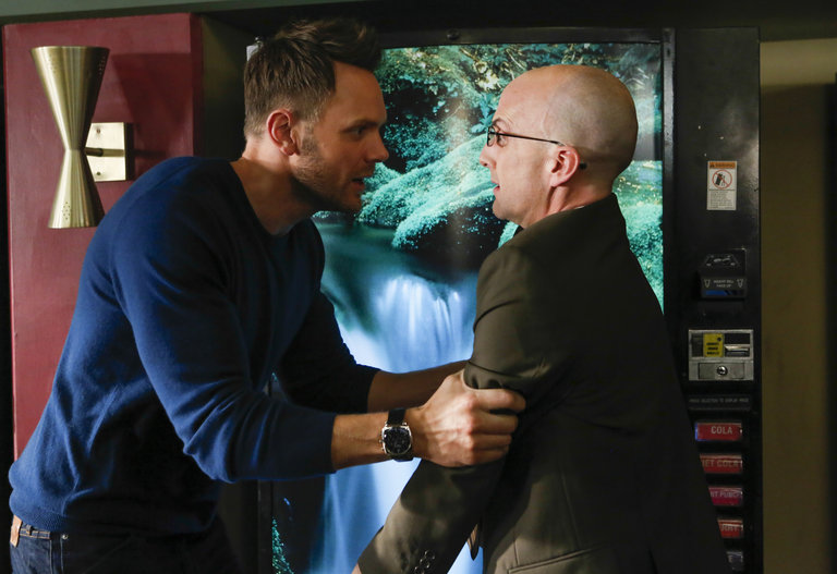 "COMMUNITY -- ""Basic Story"" -- Pictured: (l-r) Joel McHale as Jeff Winger, Jim Rash as Dean Pelton -- (Photo by: Vivian Zink/NBC)"