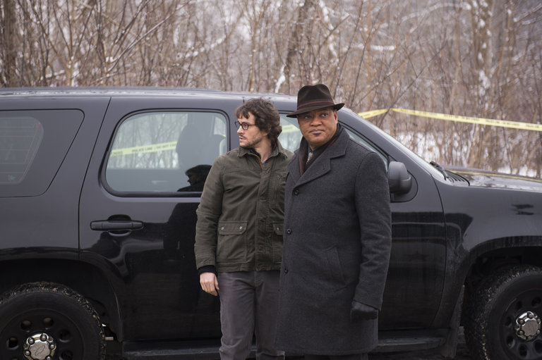 "HANNIBAL -- ""Yakimono"" Episode 207 -- Pictured: (l-r) Hugh Dancy as Will Graham, Laurence Fishburne as Jack Crawford -- (Photo by: Brooke Palmer/NBC)"