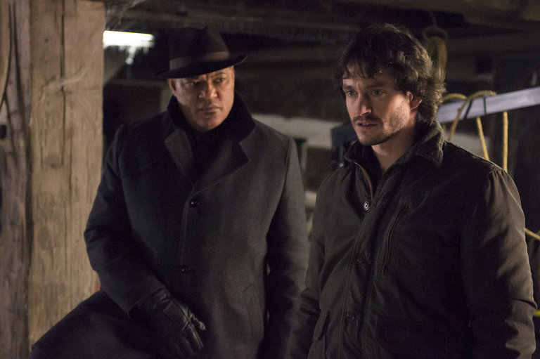 "HANNIBAL -- ""Yakimono"" Episode 207 -- Pictured: (l-r) Laurence Fishburne as Jack Crawford, Hugh Dancy as Will Graham -- (Photo by: Brooke Palmer/NBC)"