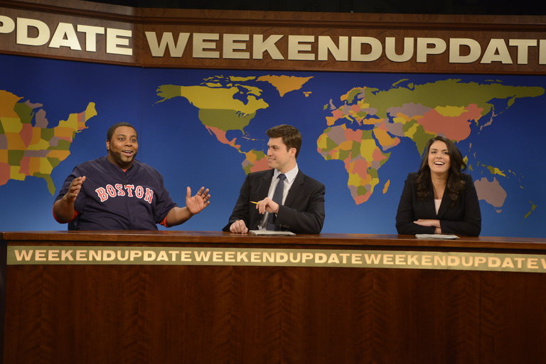 Seth Rogen hosts Saturday Night Live with musical guest Ed Sheeran on April 12, 2014.