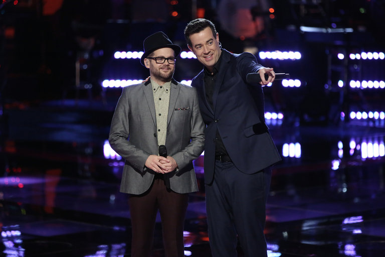 """THE VOICE -- """"Playoffs"""" -- Pictured: (l-r) Josh Kaufman, Carson Daly -- (Photo by: Tyler Golden/NBC)"""