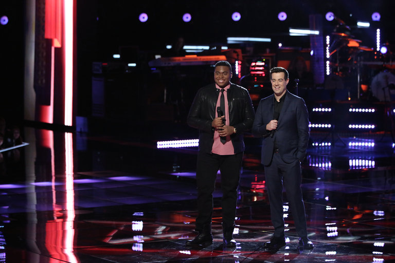 "THE VOICE -- ""Playoffs"" -- Pictured: (l-r) T.J. Wilkins, Carson Daly -- (Photo by: Tyler Golden/NBC)"