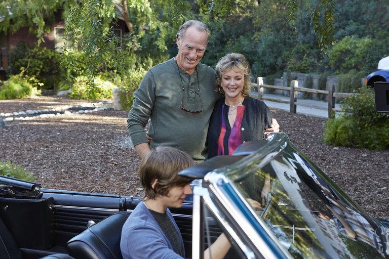 """PARENTHOOD -- """"The Pontiac"""" Episode 522 -- Pictured: (l-r) Craig T. Nelson as Zeek, Bonnie Bedelia as Camille, Miles Heizer as Drew -- (Photo by: Ben Cohen/NBC)"""