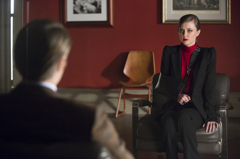 """HANNIBAL -- """"Su-zakana"""" Episode 208 -- Pictured: (l-r)  Mads Mikkelsen as Hannibal Lecter, Katharine Isabelle as Margot Verger -- (Photo by: Brooke Palmer/NBC)"""