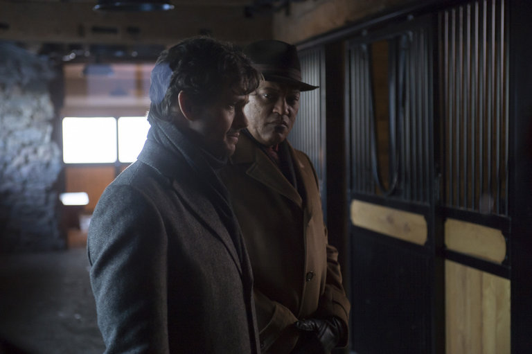 "HANNIBAL -- ""Su-zakana"" Episode 208 -- Pictured: (l-r) Hugh Dancy as Will Graham, Laurence Fishburne as Jack Crawford -- (Photo by: Brooke Palmer/NBC)"