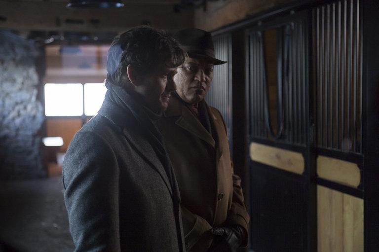 "HANNIBAL -- ""Su-zakana"" Episode 208 -- Pictured: (l-r) Hugh Dancy as Will Graham, Laurence Fishburne as Jack Crawford -- (Photo by: Brooke Palmer/NBC)"