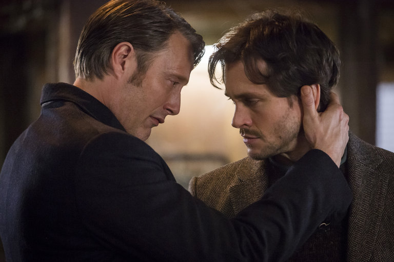 "HANNIBAL -- ""Su-zakana"" Episode 208 -- Pictured: (l-r) Mads Mikkelsen as Hannibal Lecter, Hugh Dancy as Will Graham -- (Photo by: Brooke Palmer/NBC)"